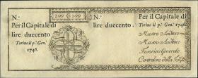 Italien / Italy P.S102r 200 Lire 1746 Königreich Sardinien (1)