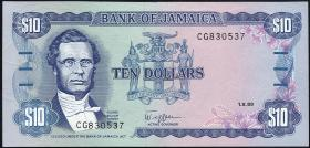 Jamaika / Jamaica P.71c 10 Dollars 1989 (1)