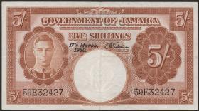Jamaika / Jamaica P.45 5 Shillings 1960 (3+)
