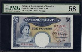 Jamaika / Jamaica P.48b 5 Pounds 1960 (1-)