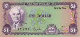 Jamaika / Jamaica P.68Ab 1 Dollar 1987 (2+)