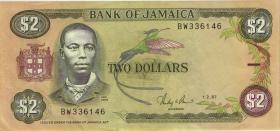 Jamaika / Jamaica P.69b 2 Dollars 1987 (2)