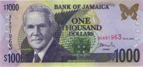 Jamaika / Jamaica P.82 1000 Dollars 2002 (1)