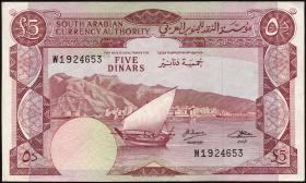 Jemen / Yemen demokratische Rep. P.04b 5 Dinars (1965) (1-)