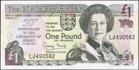 Jersey P.25 1 Pound 1995 Gedenkbanknote  (1)