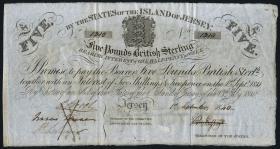Jersey P. A1b 5 Pounds 1840 (2-)