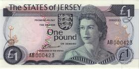 Jersey P.11a 1 Pound  (1976-88) low number (1)