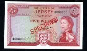 Jersey P.09as 5 Pounds (1963) Serie B Specimen (1)