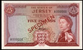"""Jersey P.09as 5 Pounds (1963) Specimen (1) """"rot"""""""