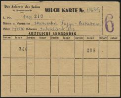 Judaika / Judaica Getto Litzmannstadt Milch-Karte (2)