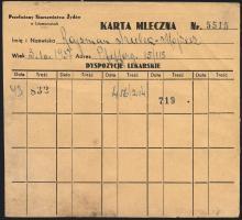 Judaika / Judaica Getto Litzmannstadt Karta Mleczna -  Milch-Karte (3)