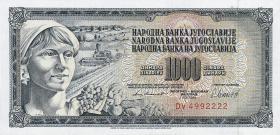 Jugoslawien / Yugoslavia P.092d 1000 Dinara 1981 (1)