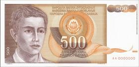Jugoslawien / Yugoslavia P.106A 500 Dinara 1990 AA 0000000 (1)
