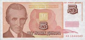 Jugoslawien / Yugoslavia P.146 5 Novi Dinara 1994 (1)
