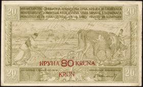 Jugoslawien / Yugoslavia P.018 80 Kronen auf 20 Dinara (1919) (3)
