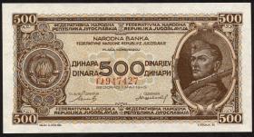 Jugoslawien / Yugoslavia P.066a 500 Dinara 1946 (1)