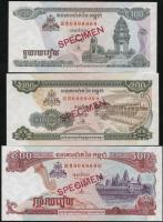 Kambodscha / Cambodia P.41-43s 100 - 500 Riels 1995-96 Specimen (1) Set 3 Werte