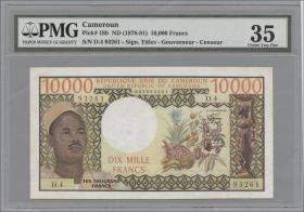 Kamerun / Cameroun P.18b 10.000 Francs o.D. (3+)