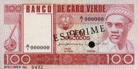 Kap Verde / Cape Verde P.54s 100 Escudos 1977 Specimen (1)