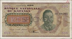 Katanga P.09s 500 Francs 1960 Specimen (1-)