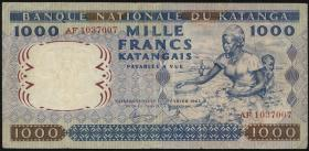 Katanga P.14a 1000 Francs 1962 kl. Einriß (3)