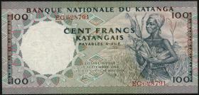 Katanga P.12a 100 Francs 1962 (3+)