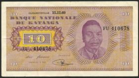 Katanga P.05a 10 Francs 15.12.1960 (3+)