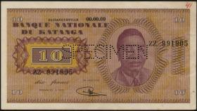Katanga P.05s 10 Francs 1960 Specimen (1-)