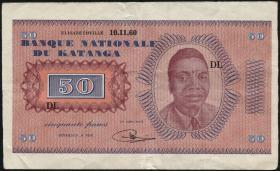 Katanga P.07a 50 Francs 1960 (mit Serienr.) (3+)