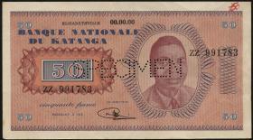 Katanga P.07s 50 Francs 1960 Specimen (1-)