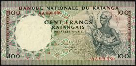 Katanga P.12a 100 Francs 18.5.1962 (1-)