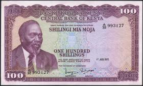 Kenia / Kenya P.10c 100 Shillings 1972 (2)