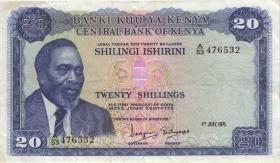 Kenia / Kenya P.08b 20 Shillings 1970 (3)