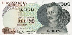 Kolumbien / Colombia P.421a 1000 Pesos Oro 1979 (1)