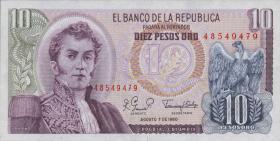 Kolumbien / Colombia P.407g 10 Pesos Oro 1980 (1)