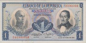 Kolumbien / Colombia P.404a 1 Peso Oro 1959 (1)
