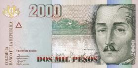 Kolumbien / Colombia P.457 2000 Pesos 2005-2012 (1)