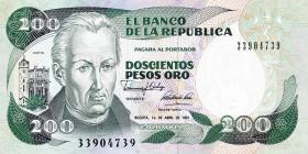 Kolumbien / Colombia P.429d 200 Pesos Oro 1991 (1)