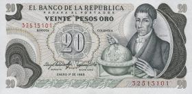 Kolumbien / Colombia P.409d 20 Pesos Oro 1983 (1)
