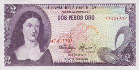 Kolumbien / Colombia P.413b 2 Pesos Oro 1976 (1)