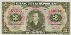 Kolumbien / Colombia P.390d 2 Pesos Oro 1955 (1)