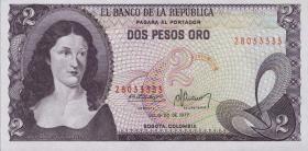 Kolumbien / Colombia P.413b 2 Pesos Oro 1977 (1)