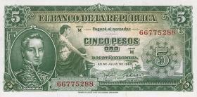 Kolumbien / Colombia P.405 5 Pesos Oro 1960 (1)
