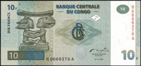 Kongo / Congo P.087 10 Francs 1997 (1)