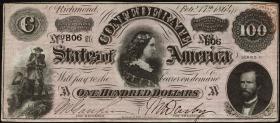 Konföderierte Staaten / Confederate States P.71 100 Dollars 1864 (2)