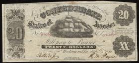 Konföderierte Staaten / Confederate States P.10 20 Dollars 1861 (3)