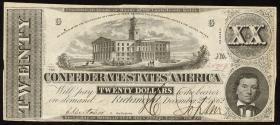 Konföderierte Staaten / Confederate States P.53 20 Dollars 1862 (3)