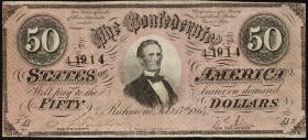 Konföderierte Staaten / Confederate States P.70 50 Dollars 1864 (3+)
