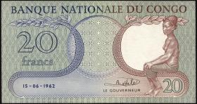 Kongo / Congo P.004a 20 Francs 1962 (2+)