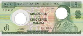 Kongo / Congo P.013 5 Zaires = 500 Makuta 1967